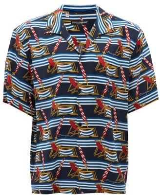 Dolce & Gabbana Deckchair And Stripe-print Silk Shirt - Blue Multi