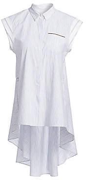 Brunello Cucinelli Women's Pinstriped High-Low Cap Sleeve Shirt