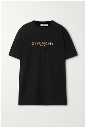 Givenchy Distressed Metallic Printed Cotton-jersey T-shirt - Black