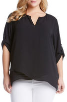 Karen Kane Plus Plus Plus Asymmetrical Hem Wrap Top