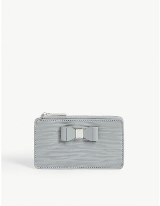 Ted Baker Blueb bow detail leather card holder