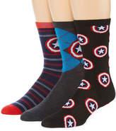Marvel 3 Pair Captain America Crew Socks-Mens