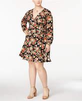 Monteau Trendy Plus Size Faux-Wrap Dress