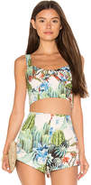 MinkPink Such a Prick Tie Front Crop Top in Blue. - size L (also in M,S,XS)