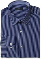 Nautica Men's Regular Fit Stripe Dress Shirt with Spread Collar