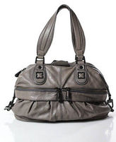 BCBGMAXAZRIA Gray Leather Round Structured Small Satchel Handbag