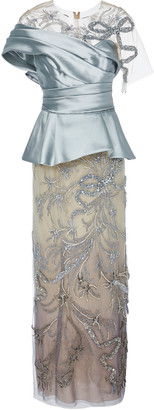Marchesa Embellished Satin-Paneled Organza Peplum Gown