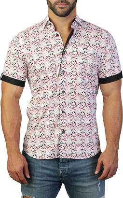 Maceoo Galileo Weed Red Regular Fit Short Sleeve Shirt