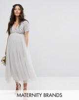 Maya Maternity Cap Sleeve V Neck Midi Dress With Tonal Delicate Sequins