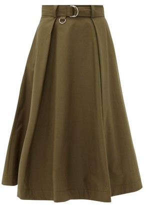 MSGM High-rise Belted Cotton-blend Midi Skirt - Womens - Khaki