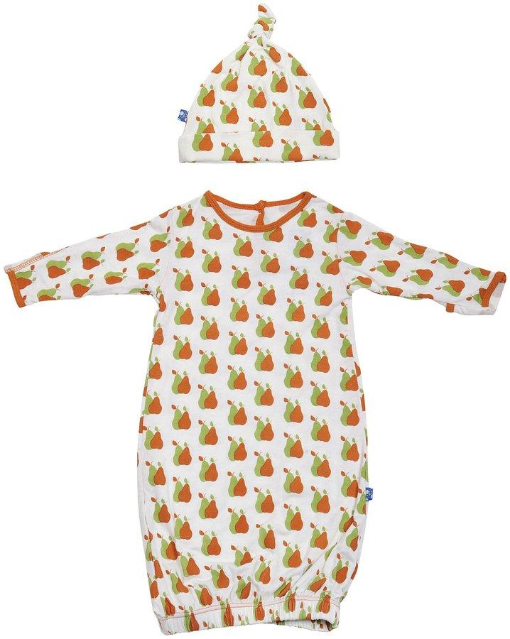 KicKee Pants Print Layette Gown & Knot Hat Set