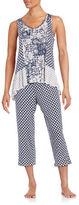 Ellen Tracy Mixed Pattern Pajama Set