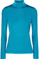 Golden Goose Deluxe Brand Iman Stretch-satin Turtleneck Top - Bright blue