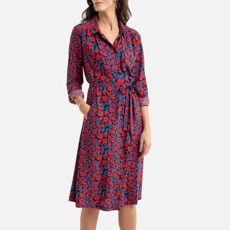 Anne Weyburn Long Flared Dress in Floral Print