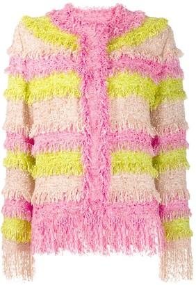 MSGM colour block fringed jacket