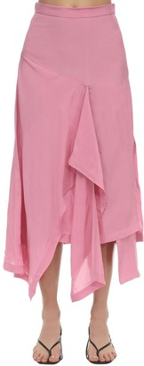 High Waist Draped Midi Skirt