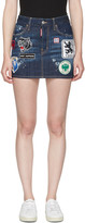 DSQUARED2 Blue Denim Patches Miniskirt