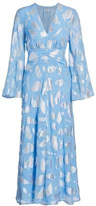 Rixo Indra Metallic Feather Print Midi Dress