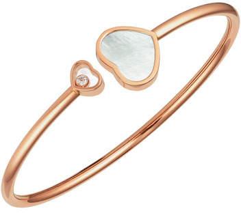 Chopard Happy Hearts 18k Rose Gold Mother-of-Pearl & Diamond Bangle Bracelet