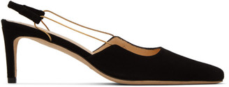 BY FAR Black Suede Gabriella Slingback Heels