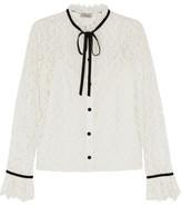 Temperley London Eclipse Velvet-trimmed Corded Lace Blouse - White