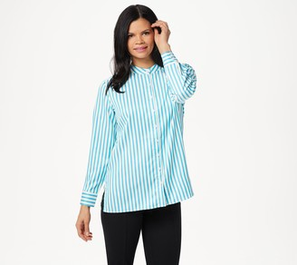 Linea By Louis Dell'olio by Louis Dell'Olio Stand Collar Striped Shirt With Back Box Pleat