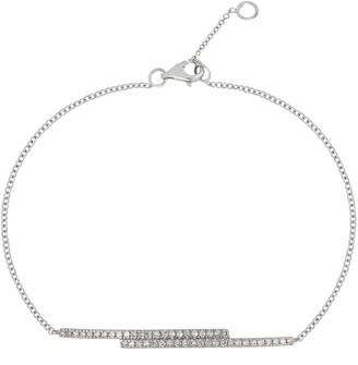 Carriere Sterling Silver Pave Diamond Double Bar Bracelet - 0.18 ctw
