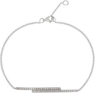 Carriere Sterling Silver Pave Diamond Double Bar Bracelet - 0.18 ctw