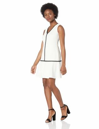 Calvin Klein Women's Petite Sleeveless Sheath with Flounce Hem and Novelty Trim