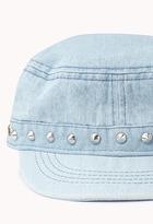 Forever 21 Studded Denim Military Cap