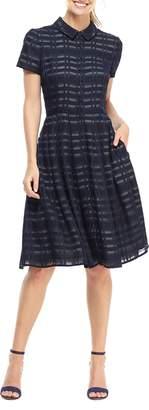 Gal Meets Glam Mackenzie Windowpane Jacquard Shirtdress
