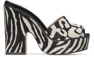 Jimmy Choo DEEDEE 125 Black and White Animal Print Pony Mix Wedge Sandals