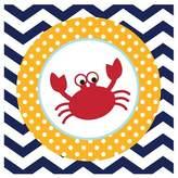 18ct Ahoy Matey! Crab Chevron Paper Napkins