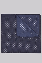Moss Bros Premium Navy Border Spot Silk Pocket Square