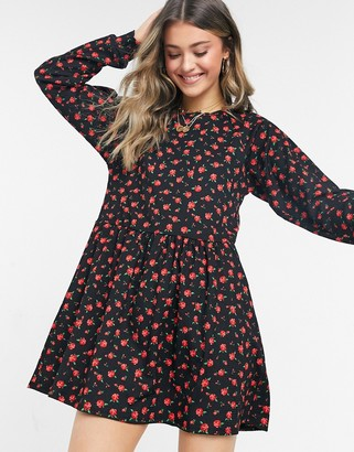 Miss Selfridge mini smock dress in rose print