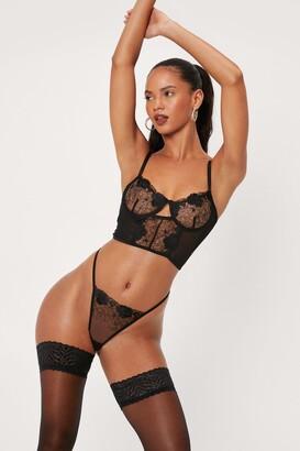 Nasty Gal Womens Lace Underwire Cut Out Corset Lingerie Set - Black