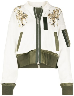Sacai Sequin Embellished Zipped Jacket