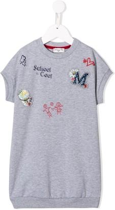 MonnaLisa patchwork print T-shirt dress