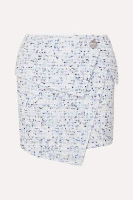 Balmain Wrap-effect Button-embellished Metallic Tweed Mini Skirt - Blue