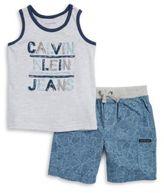 Calvin Klein Jeans Boys Logo Tee and Geometric Print Shorts Set