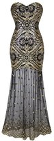 ZX Z&X Women's 1920s Sequin Embellished Strapless Sweetheart Flapper Cocktail Dress
