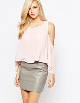 AX Paris Cold Shoulder Top with Floaty Sleeves
