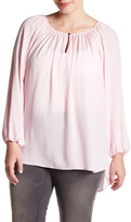 Vince Camuto Shirred Neck Blouse (Plus Size)
