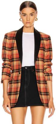 R 13 Shawl Lapel Tuxedo Jacket in Orange Plaid | FWRD