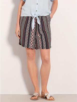 M&Co Tribal print tie front shorts