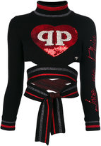 Philipp Plein heart patch tied top