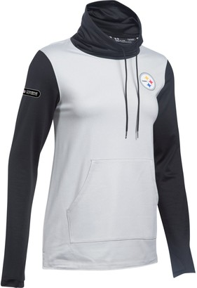 Women's Under Armour Heathered Gray/Black Pittsburgh Steelers Combine Authentic French Terry Cowl Neck Hoodie