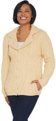 Aran Craft Merino Wool Button Front Sweater Cardigan
