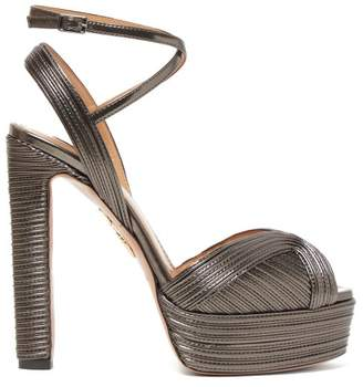 Aquazzura Caprice 130 Metallic-leather Platform Sandals - Womens - Dark Grey