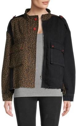 Lea & Viola Leopard Colorblocked Denim Jacket